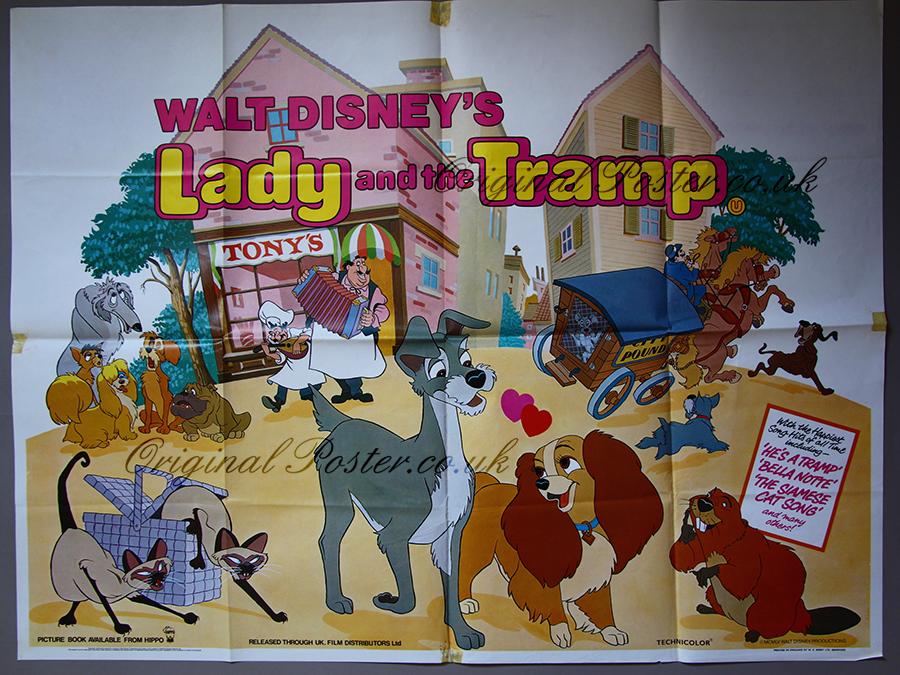 Lady And The Tramp Original Vintage Film Poster Original Poster Vintage Film And Movie Posters