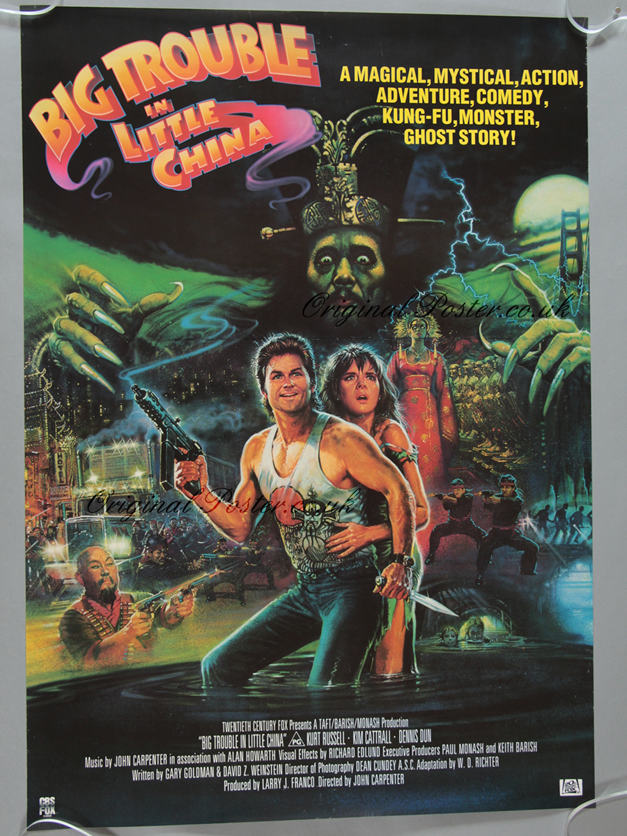BIG TROUBLE IN LITTLE CHINA Movie Poster RARE Version Kurt Russell Kung-Fu